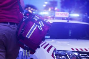 first responder at the scene of a car accident
